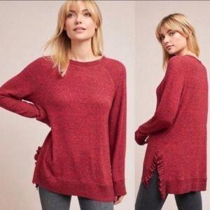 Anthro Postmark Gia Red Heathered Ruffle Sweater
